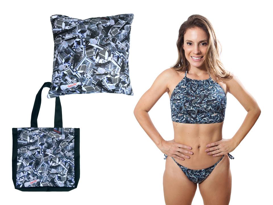 Produto Oficial Rock in Rio by le modiste estampas exclusivas originals ecobag bolsa, camiseta cropped, almofada, bikini, biquini, maira charken, microfones