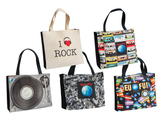 Produto Oficial Rock in Rio by le modiste com estampa exclusiva originals ecobags vitrola, fita cassete k7, vintage, microfones, guitarra logo grande rock in rio, tickets ingresso rock in rio 1985