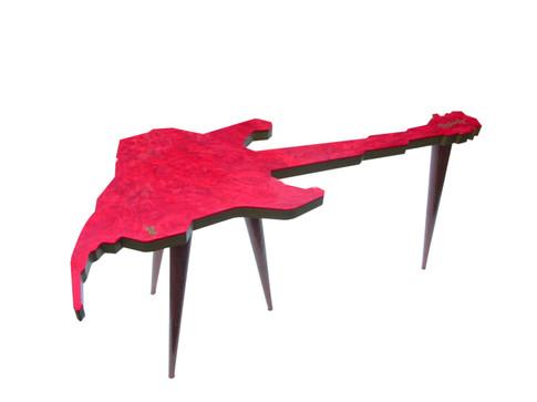 Produto Oficial Rock in Rio by le modiste com estampa exclusiva originals mesinha de centro guitarra rock in rio comt ampo em acrílico e pés palito anos 60 vintage