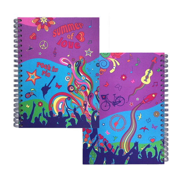 Papelaria Caderno Escolar Produto Oficial Rock in Rio 2017 by le modiste estampa exclusiva inspirada no Verão do Amor, Summer of Love 1967 originals You say you want a Revolution Beatles