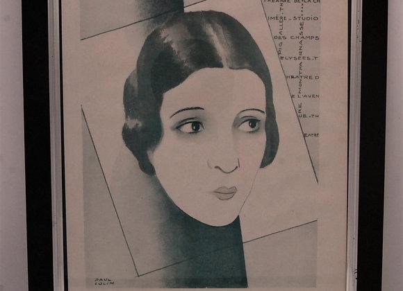 Art Deco Vogue Print Blue/Grey