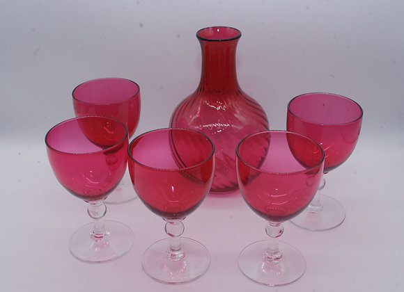 Cranberry Decanter and 5 Glasses