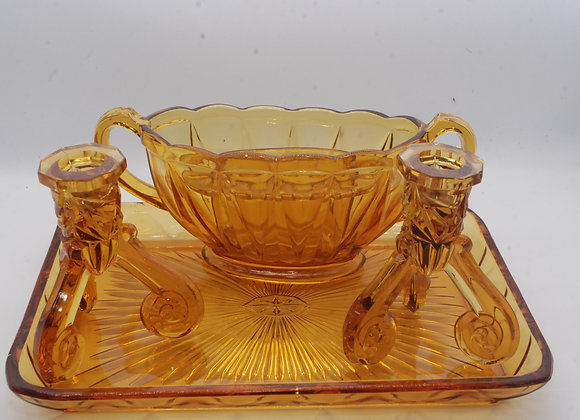 "Amber Glass Tray with Candle sticks and Flower ""Frog"""