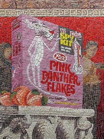 pink panther flakes, mosaic, bachor