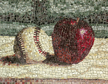 an apple and a baseball, mosaic, bachor