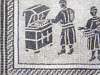 ancient fryer instruction?, mosaic, bachor