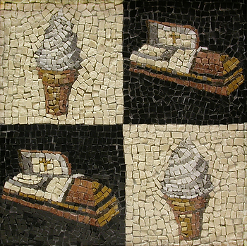 soft serve ice cream cones and coffins, mosaic, bachor