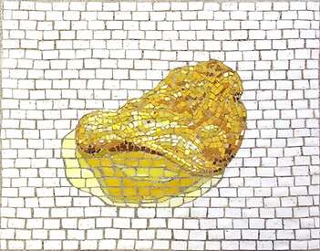 super realistic potato chip, mosaic, bachor