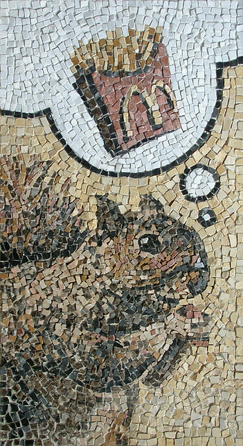 squirrel thinking, mosaic, bachor