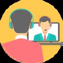 Aluno e professor em uma video chamada pelo skype