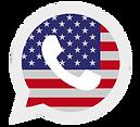 ícone whatsapp com bandeira americana