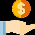 Mão com uma moeda cifrada acima