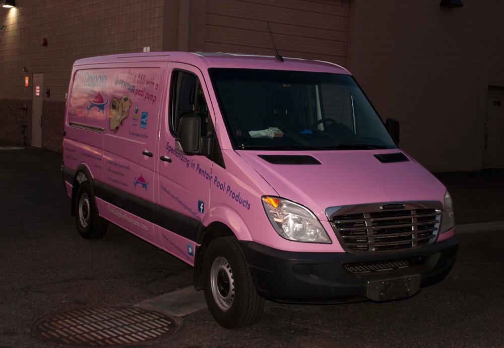 Sprinter Van wrapped in pink