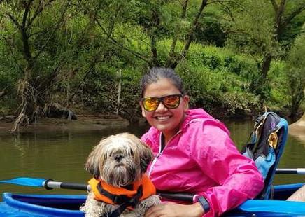 Mishka went kayaking one weekend