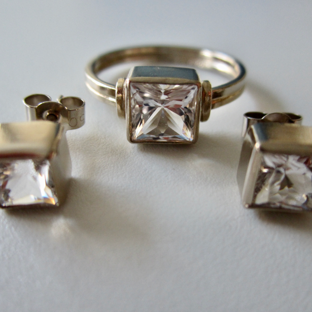 Square Ring & Stud Earrings