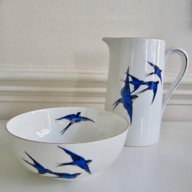 Art Deco 'Swallows' Jug & Bowl
