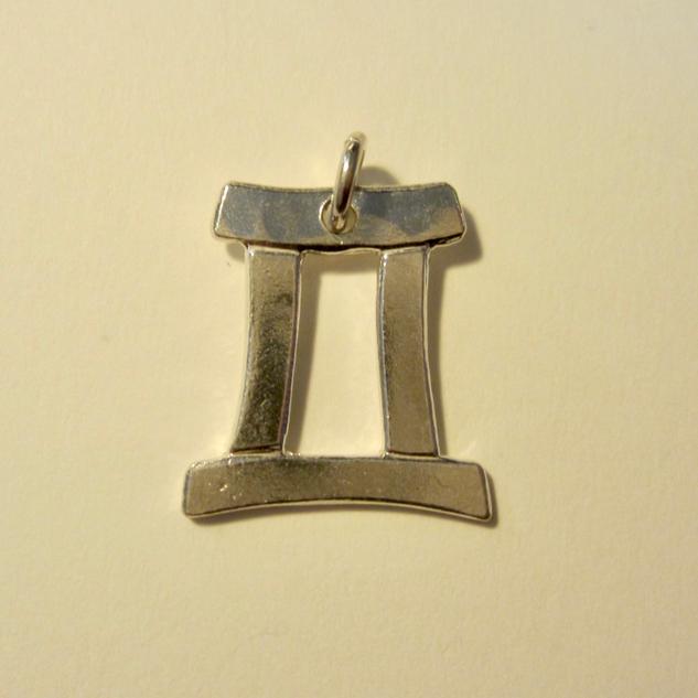 Silver Gemini Zodiac Symbol Pendant
