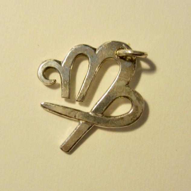 Silver Virgo Zodiac Symbol Pendant