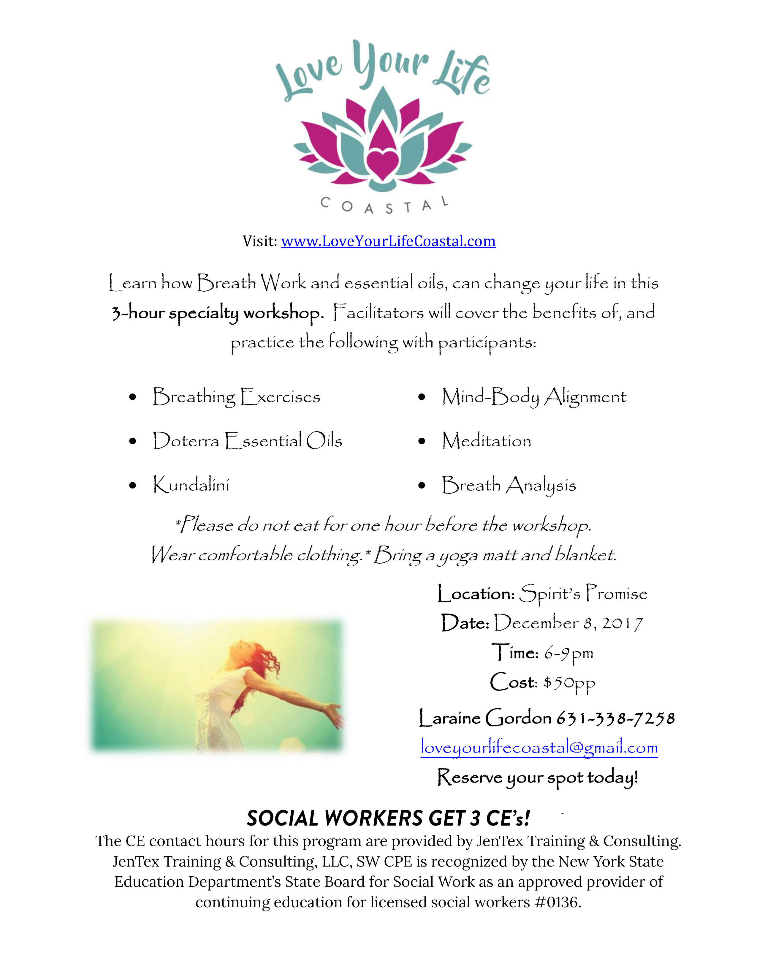 Breath Work at Spirits Promise Flyer - December 8th 2017