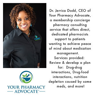 Dr Jerrica Dodd, Your Pharmacy Advocate.