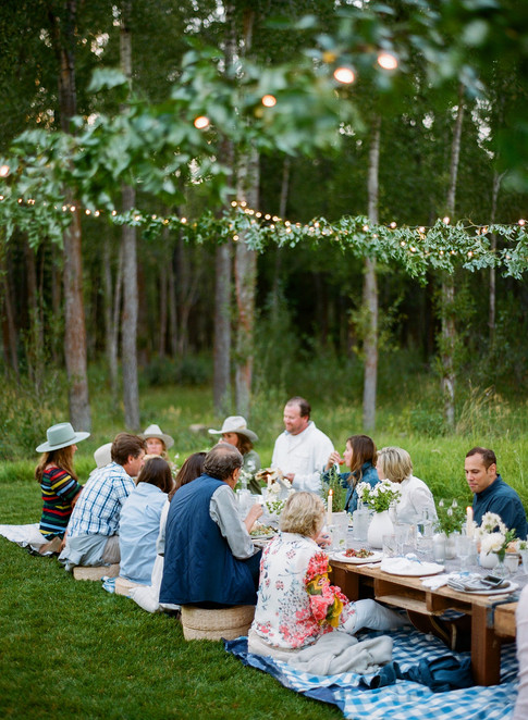People eating at a long low Table in a Field with Lights and Greenery above