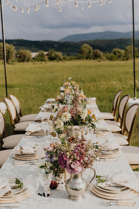 Long Table Set in a Field with Empty Upholsted Wooden Chairs and String Lights Above