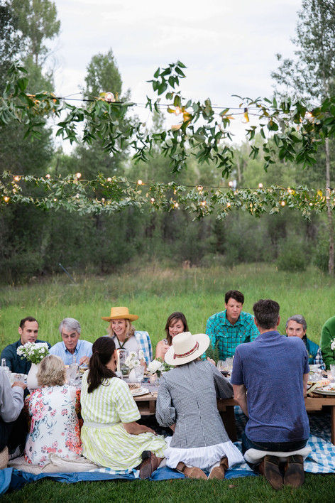 Women in a hat and other people sit at a low table in a Field with Sting Lights and Greenery Shining Above