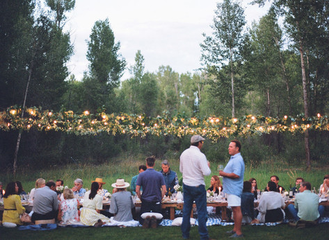 People Sitting on Pillows and Blankets at a Low Table in a Field with String Lights and Greenery Hanging Above