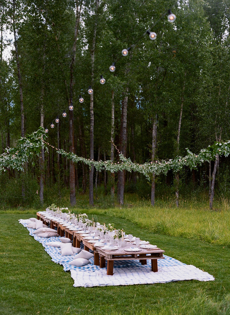 Long Low Table in a Field with Checkered Blue Blankets and String Lights