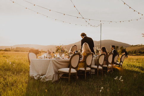 Long Table in a Field at Dusk with String Lights Above it