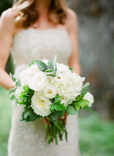 Bride Holding Bouquet of White Roses, Hydrangea and Greenery