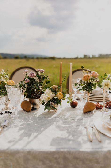 Tablescape with Tan and Brown Candlesticks, Small Silver Bud vases with yellow and pink roses and pears and grapes on the table