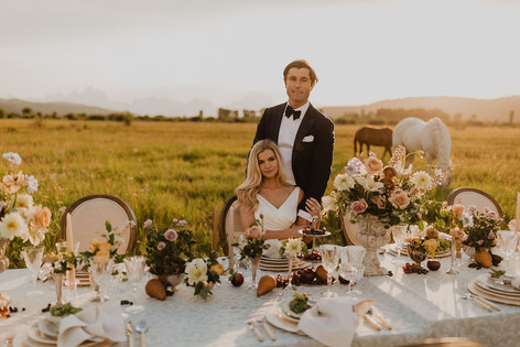 Bride Sitting at a Long Table in a Field with the Groom Standing Behind Her