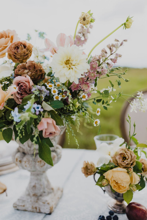 Dramatic Flower Arrangement with Yellow Dahlias, Dusty Roses, Chamomile