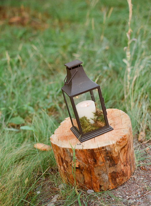 Wooden Stump in the Grass with a Black Latern with Moss