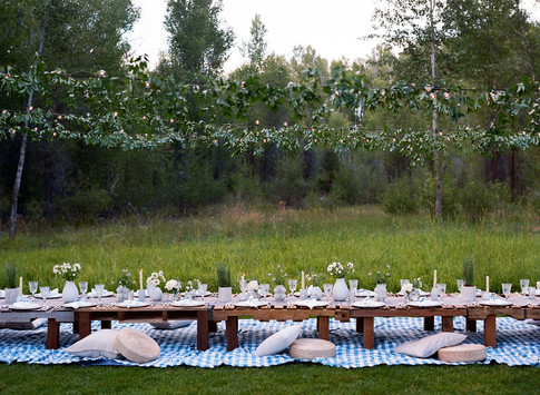 Low Wooden Crate Table on a Blue Checkered Blanket in a Field with Lights and Greenery Above