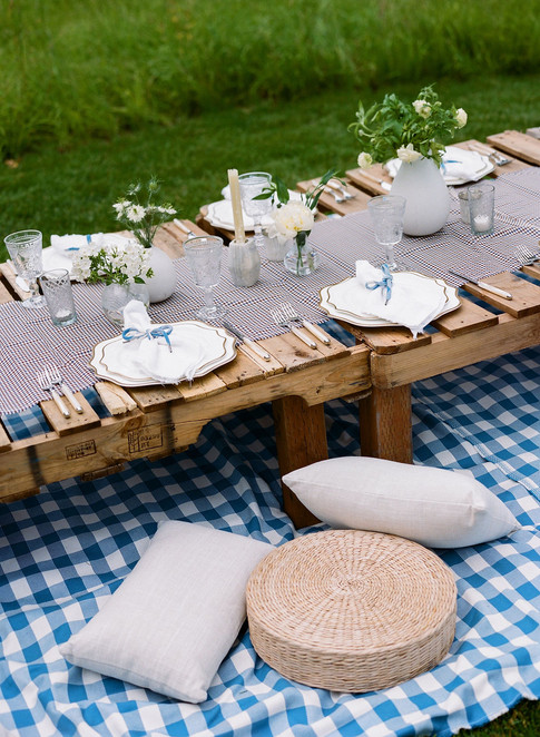 Low Wooden Crate Table on Blue Checkered Blanket with Straw Cushions