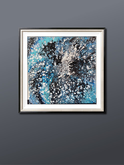 12 x 12 x 1   Acrylic Spin Paint Blue, Black & White