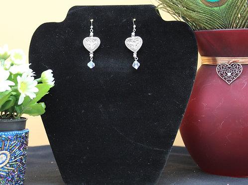 Silver Heart with Clear Swarovski Crystal