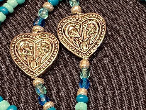 Mask Lanyard Turquoise Beads with Silver Heart