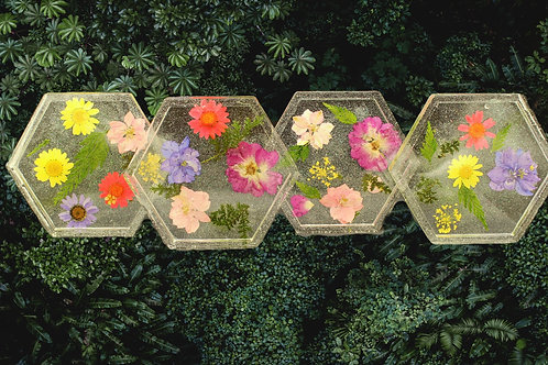 Floral Clear Design Coasters