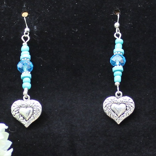 Silver Hearts W Turquoise Beads & Blue Crystal