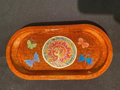 Small Tray Sun/Ohm with Butterflies