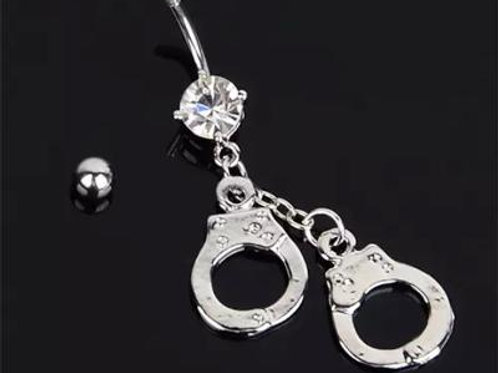 White Crystal Sexy Handcuff Belly Button Ring, Stainless Steelv