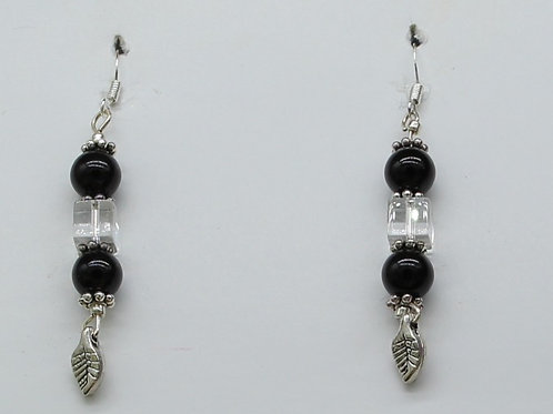Silver Leaf w Round Black Beads & a Square Crystal
