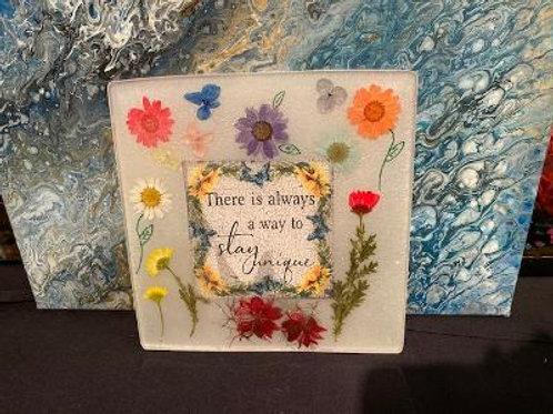 Acrylic Trivet or Sun catcher  w Real Wildflowers