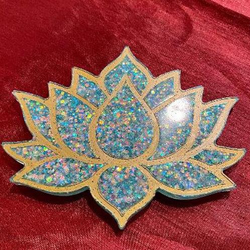 Blue & Gold Lotus Coaster