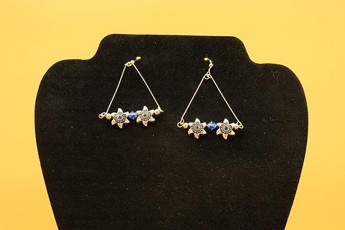 Starfish Flowers with Blue Swarovski Crystals