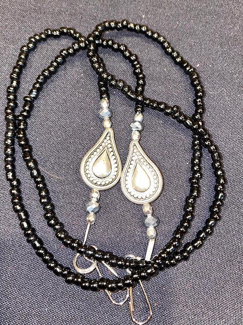 Mask Lanyard Black Beads w Silver Tear drop Clear Swarovski Beads