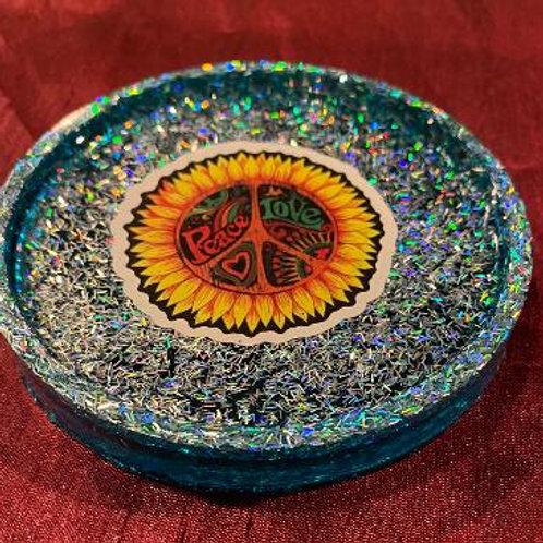 Coaster Peace Holographic Silver and Aqua